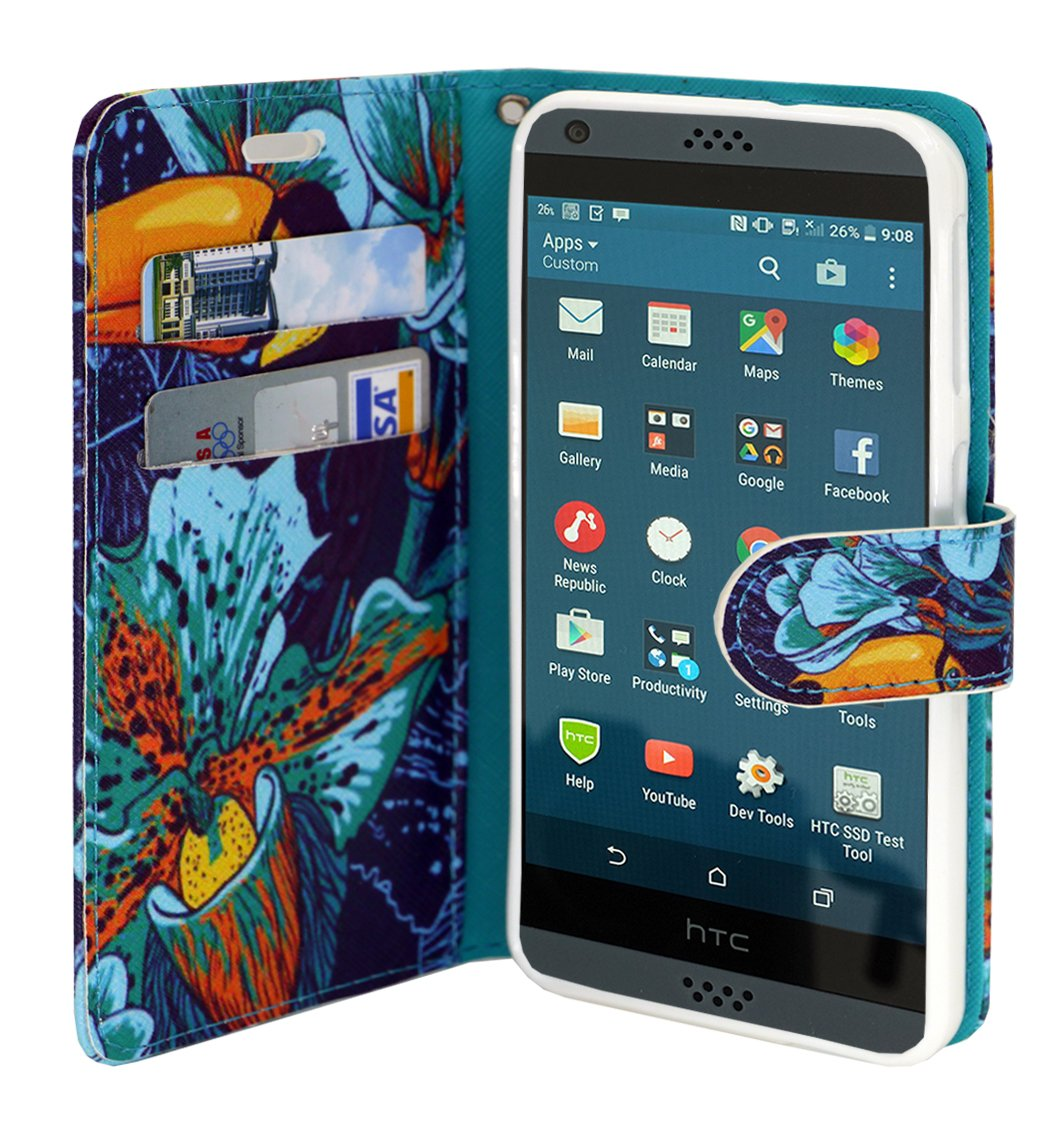 Design Flip Fold Premium PU Leather Wallet Pouch Case for HTC Desire 530 Free Emoji Keychain Parrot Customerfirst HTC Desire 530 Case