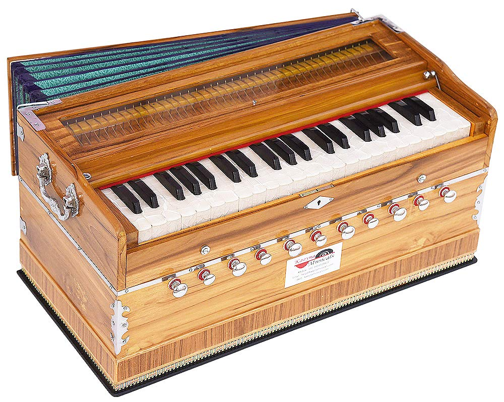Harmonium Teak Wood By Kaayna Musicals, 11 Stops- 6 Main & 5 Drone, 3½ Octaves, Coupler, Natural Wood Color, Gig Bag, Bass/Male Reed- 440 Hz, Best for Yoga, Bhajan, Keertan, Shruti, Mantra, etc by Kaayna Musicals