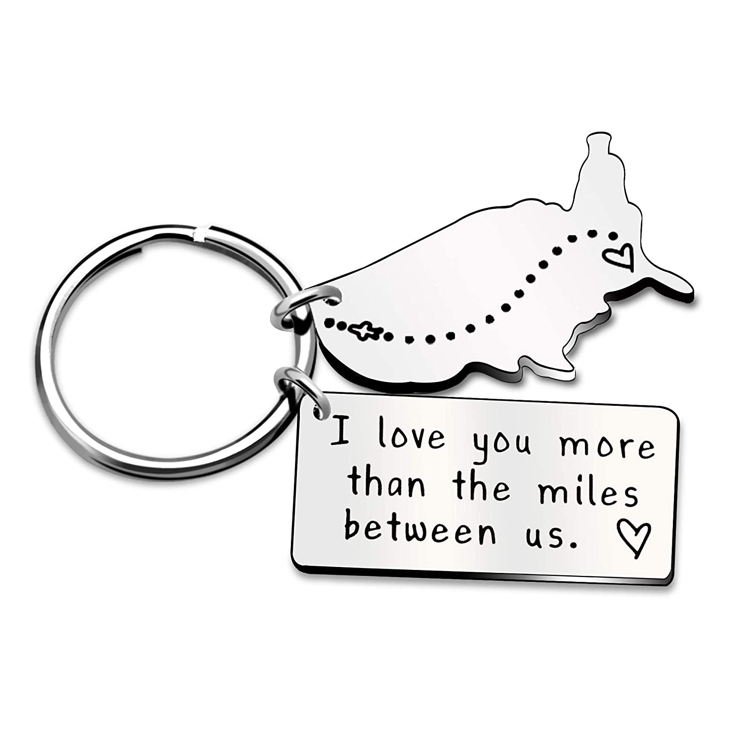 Key Chain Ring Best Friend Valentine Long Distance Relationship Gift - I Love You More Than The Miles Between Us AGR8T