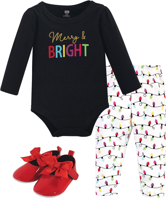 Hudson Baby Baby Cotton Bodysuit, Pant and Shoe Set