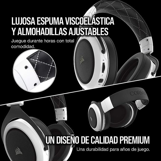 Corsair HS70, Auriculares Inalámbricos para Juegos (Sonido Envolvente 7.1, con Micrófono Desmontable, para PC/PS4), Inalámbrico, Blanco