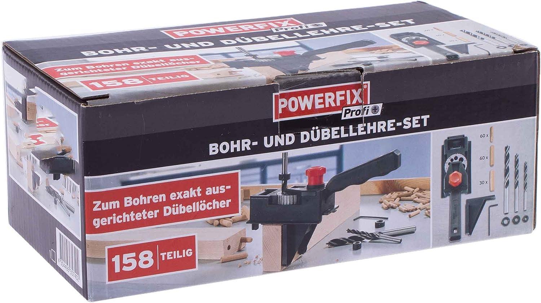 und Dübellehre Set 158tlg POWERFIX®  Bohr 150Holzdübel 3 Tiefenstopps 3 Bohrer