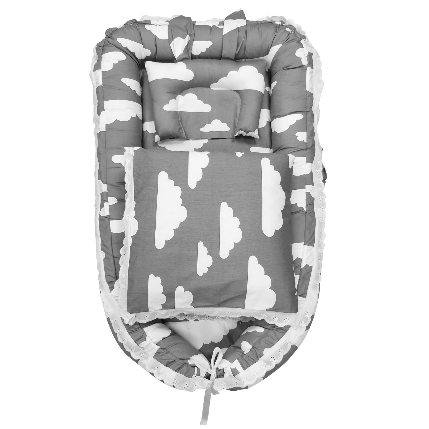 Abreeze Baby Travel Co-Sleeping Baby Crib Portable Crib Portable Baby Bassinet for Bed Baby Cots for 0-24 Month Baby 3pcs, Clouds Grey by Abreeze