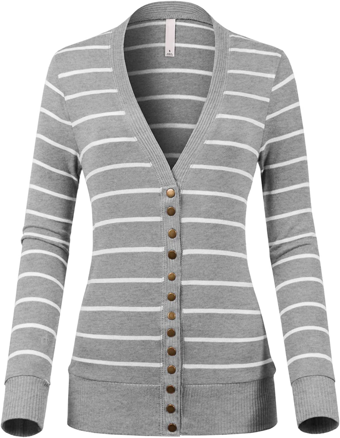 Design by Olivia Womens V-Neck Snap Button Down Long Sleeve Soft Basic Striped Knit Cardigan Sweater