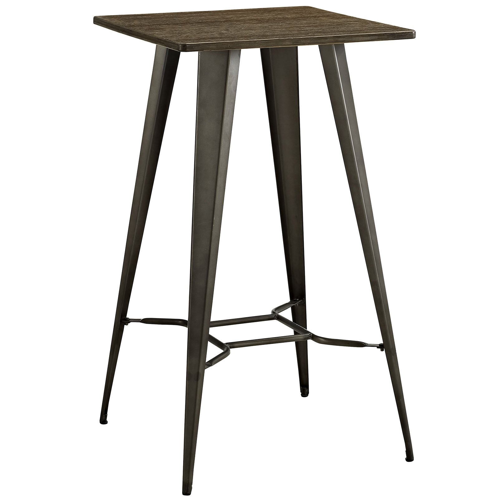 Modway Direct Rustic Modern Farmhouse Steel Metal Square Bar Table with Bamboo Top in Brown by Modway