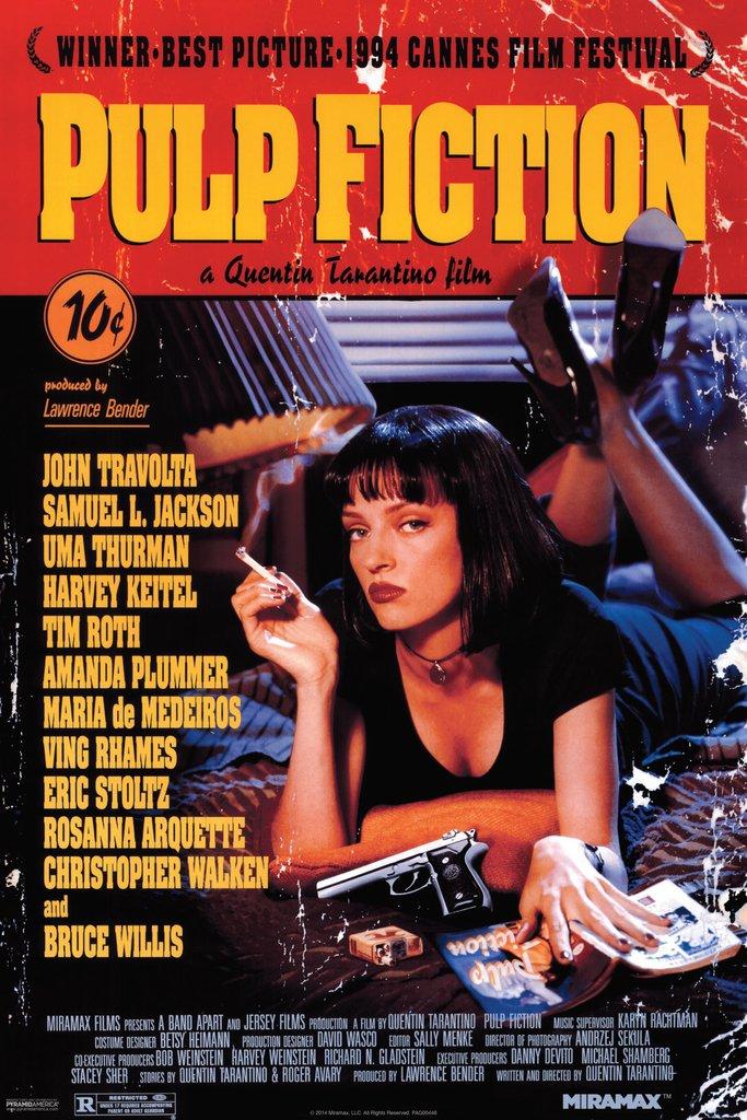 Pyramid America Pulp Fiction Uma Thurman Smoking Movie Poster 12x18 inch