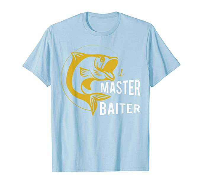 cc20ae2ad Mens Master Baiter Fishing Hook TShirt - Funny Fisherman Gift Tee 2XL Baby  Blue
