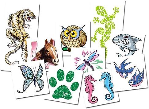 Juego de Tatuajes Animales (x10 Tatuajes temporales para Niños) - Calcomanías Infantiles fabricadas en España: Amazon.es: Juguetes y juegos