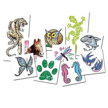 Juego De Tatuajes Animales X10 Tatuajes Temporales Para Ninos - Juegos-de-tatuajes-para-nios