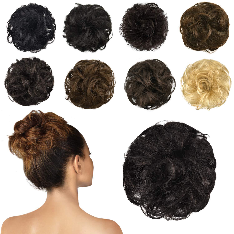 FESHFEN 100% Human Hair Scrunchies (2# Dark Brown) Curly Messy Hair Bun Extensions Wedding Hair Pieces for Women Kids Hair Updo Donut Chignons by FESHFEN