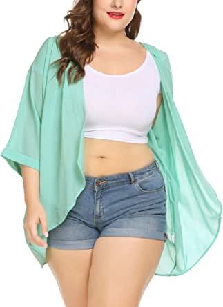 IN'VOLAND Womens Plus Size Kimono Cardigan Open Front Sheer Chiffon Sun Protection Cover Up Cardigans