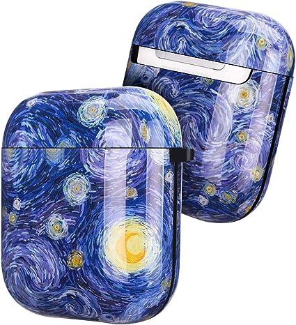 Golink Schutzhülle Für Airpods Art Series Stoßfeste Tpu Gel Schutzhülle Mit Aufdruck Für Airpods 1 2 Ladehülle Ölgemälde Sternenhimmel Elektronik