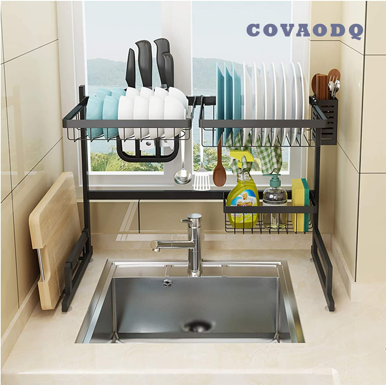 Amazon Com Covaodq Dish Drying Rack Over Sink Drainer Shelf For Kitchen Drying Rack Organizer Supplies Storage Counter Kitchen Space Saver Utensils Holder Stainless Steel Sink Size 24 1 2 Inch Black