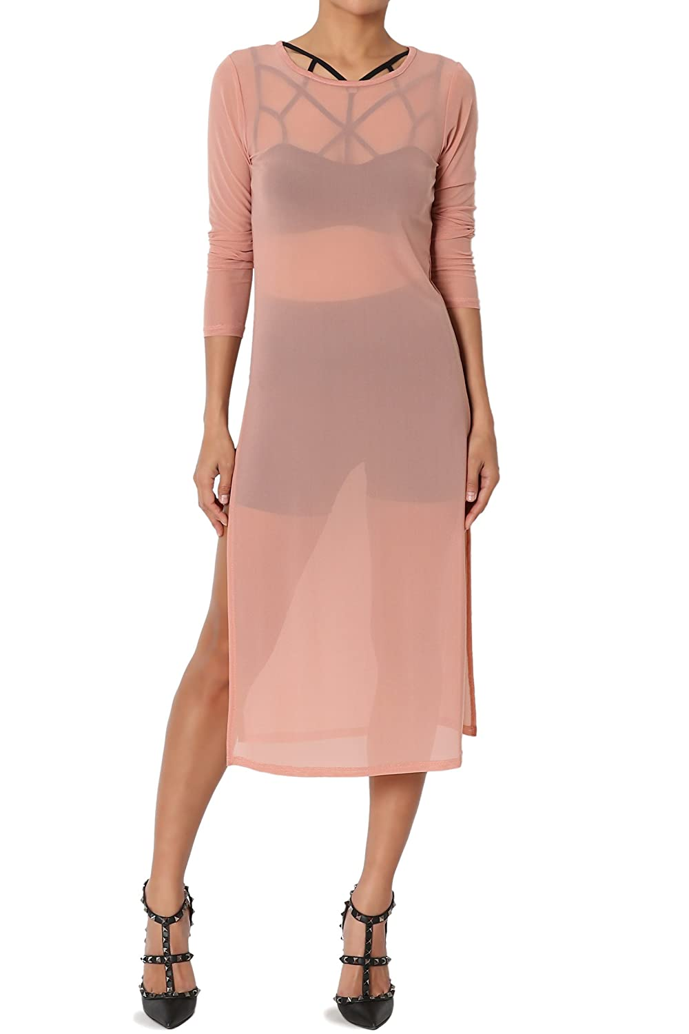 0ab78d8586 See-through high slit midi dress, longline top. Versatile, and sexy sheer  mesh cover up. Long sleeves, crew neckline, high slit at sides, lightweight
