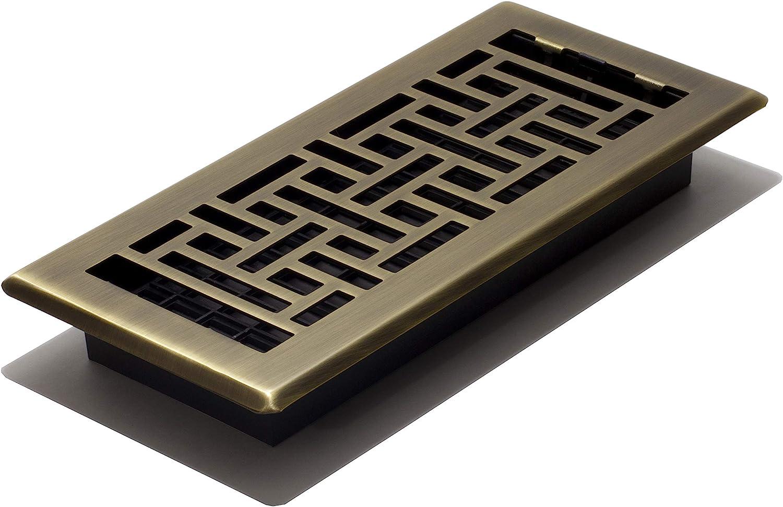 Decor Grates AJH410-A Floor Register, 4 x 10, Antique Brass