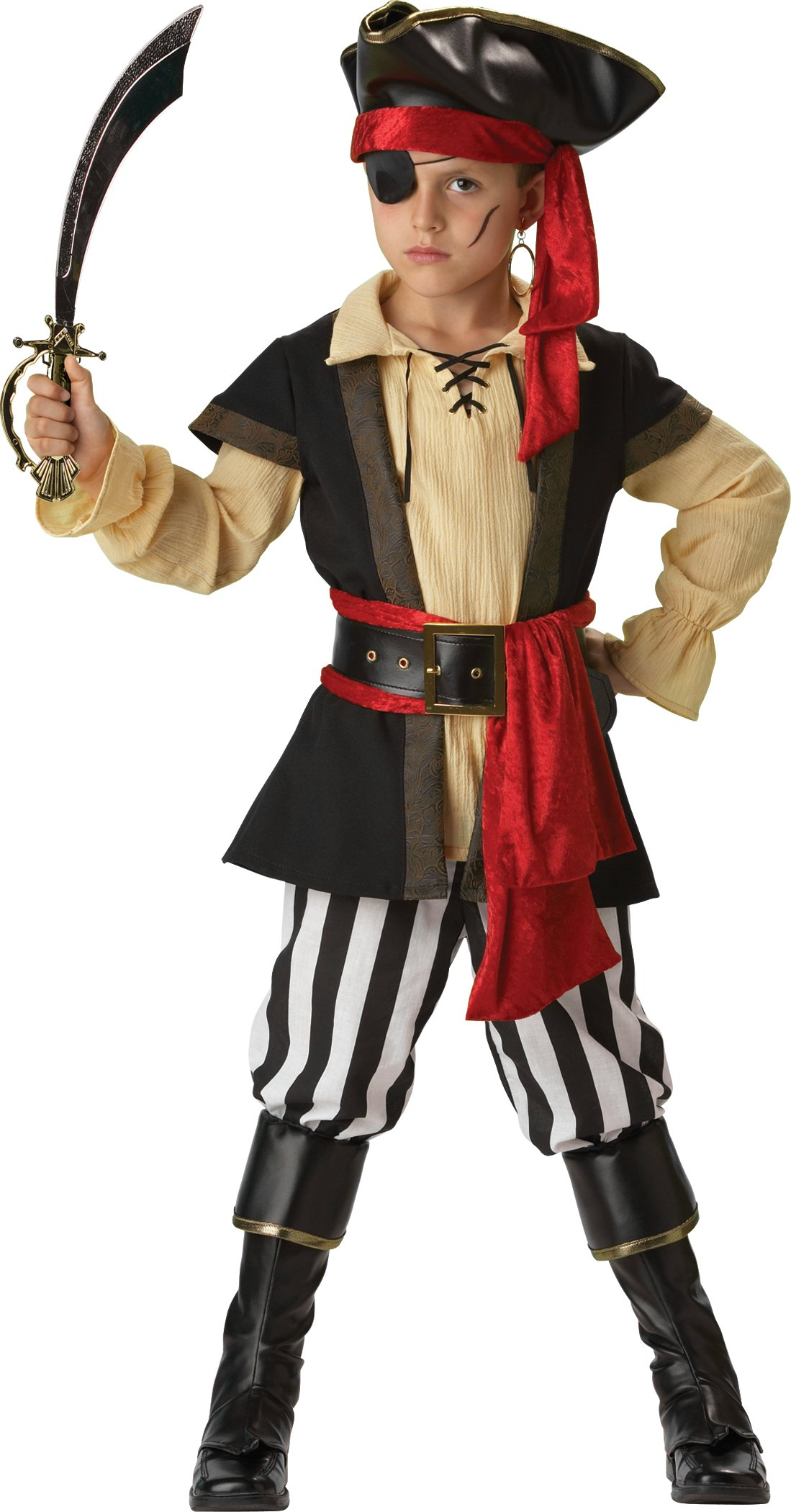 InCharacter Costumes Boys 2-7 Pirate Scoundrel Costume, Black/Red, 6 by Fun World (Image #2)