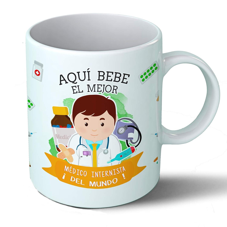 Planetacase Taza Desayuno Aquí Bebe el Mejor Medico internista del Mundo Regalo Original Medicina Interna Ceramica 330 mL: Amazon.es: Hogar