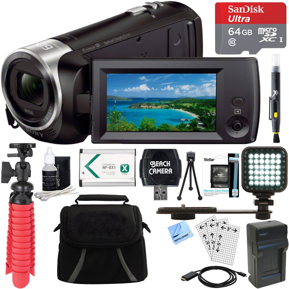 Sony HDR-CX405/B Full HD 60p Camcorder + 64GB Ultra MicroSDXC UHS-I Memory Card + NP-BX1 Battery Pack + Accessory Bundle by Beach Camera