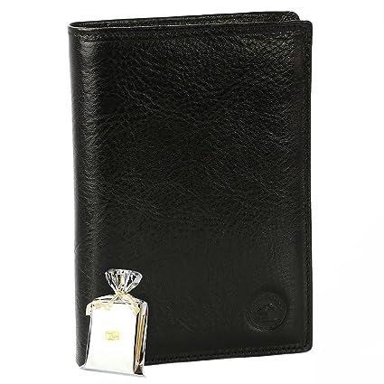 GRAND CLASSIQUE Portefeuille en cuir NOIR N1328 - Grand Portefeuille Homme  PACK cadeau Noël, une 801966140de
