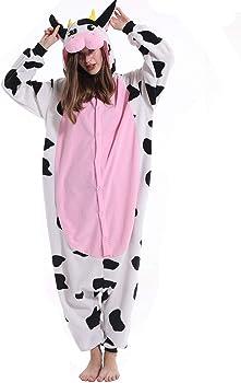 Spooktacular Creations Unisex Adult Pajama Plush Onesie One Piece Cow Animal Costume