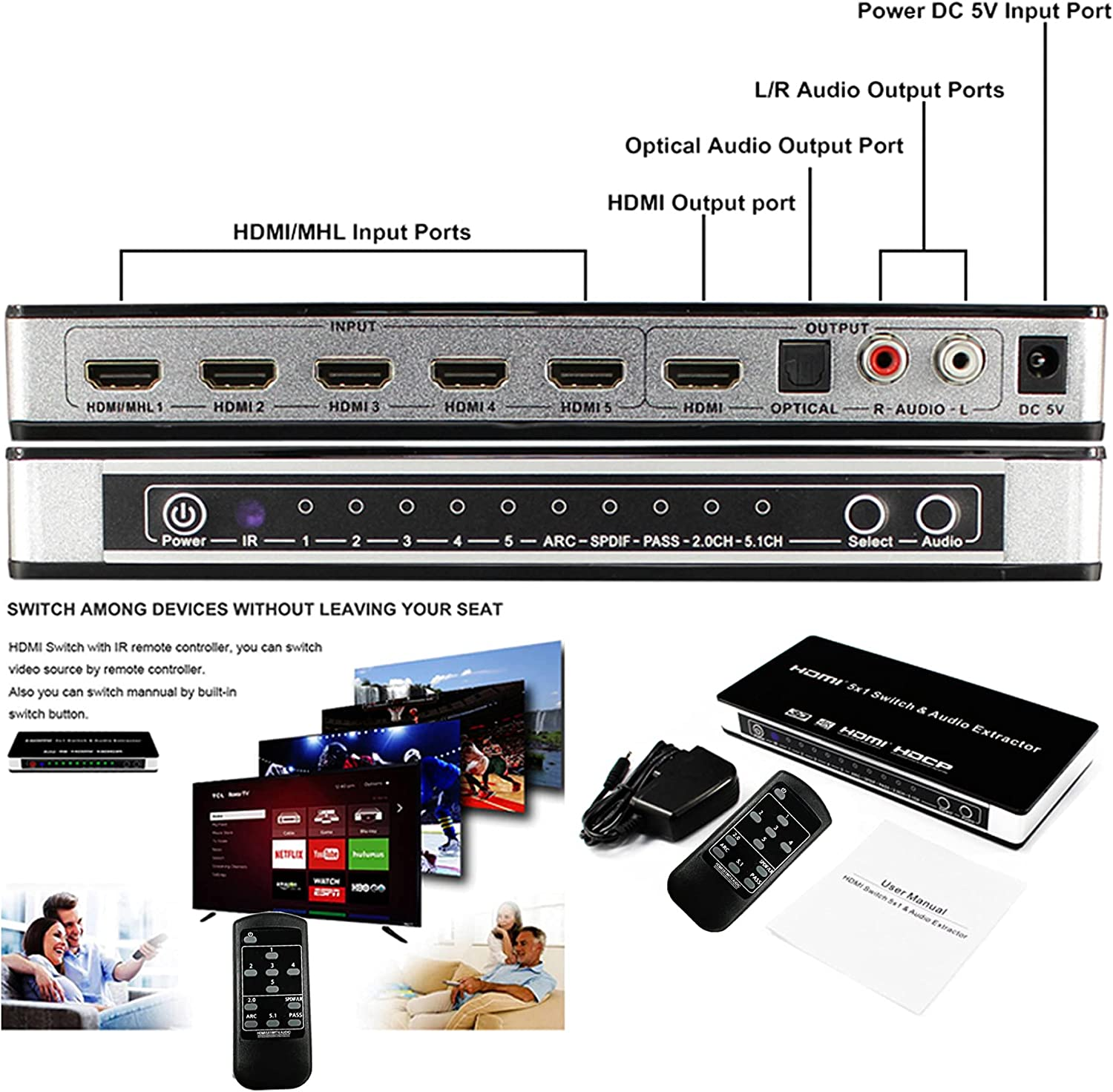 HDMI Switch 5x1 4K@30hz hdmi Audio Extractor 5 Port Supports 1080P Ultra HD 4K Full HD 3D ARC with IR Remote Control: Electronics