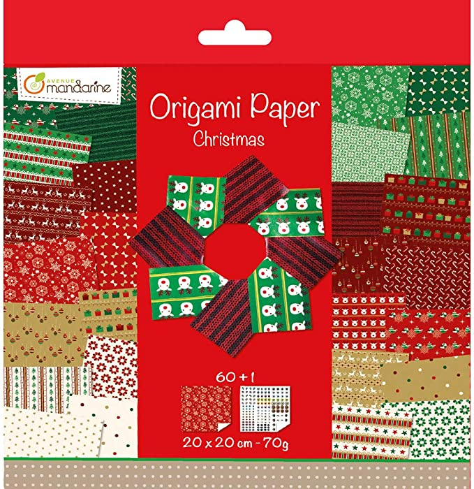 Motive Faltblätter Origami Weihnachten XMAS 15x15cm 80g//m²  50 Blatt versch