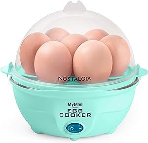 Nostalgia MyMini 7 Egg Cooker makes 7 soft medium or hard boiled eggs egg bowls includes egg white separator (Teal)