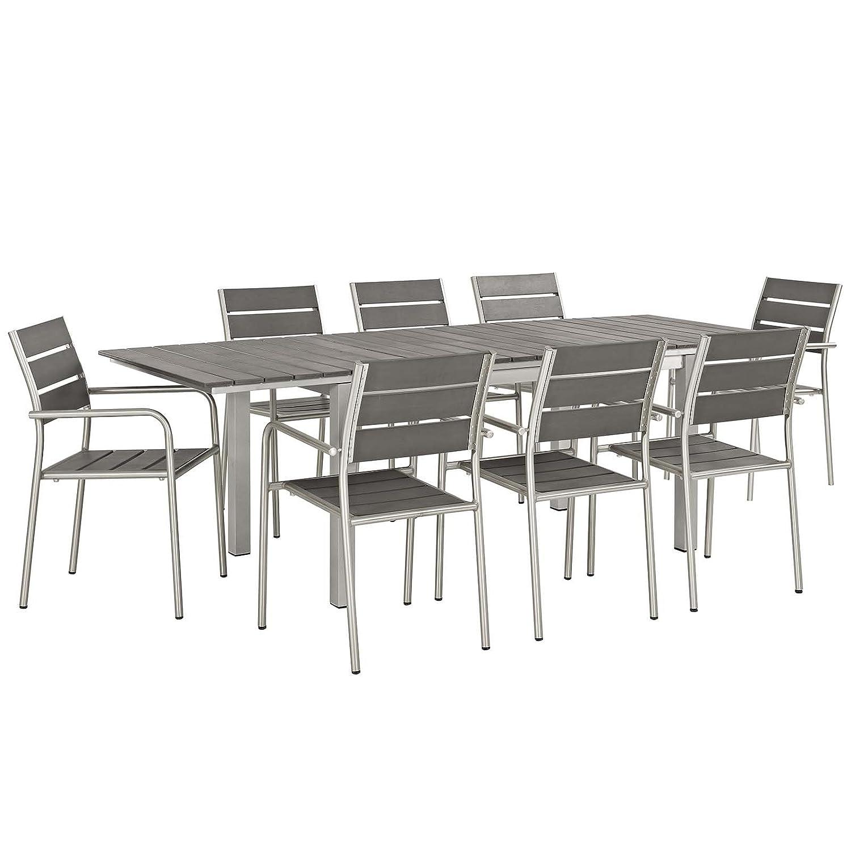 Modway EEI-3201-SLV-GRY-SET Shore 9 Piece Patio Aluminum Outdoor Dining Set in Silver Gray