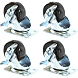 NK CHR22SBRRE 2-inch Low Profile HD Rubber Wheel Swivel Plate Casters with Brake, Set of 4