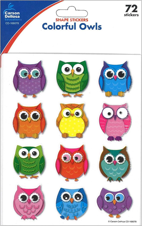 - Amazon.com: Carson Dellosa Colorful Owls Shape Stickers (168078