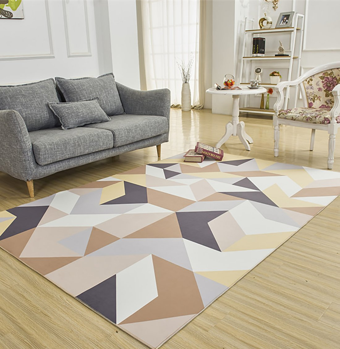 SANNIX Soft Fabric Shaggy Area Rug Fluffy Living Room Carpets for Home Decor Nursery Rugs with Non-Skid Rubber Backing geometric pattern 200X300CM