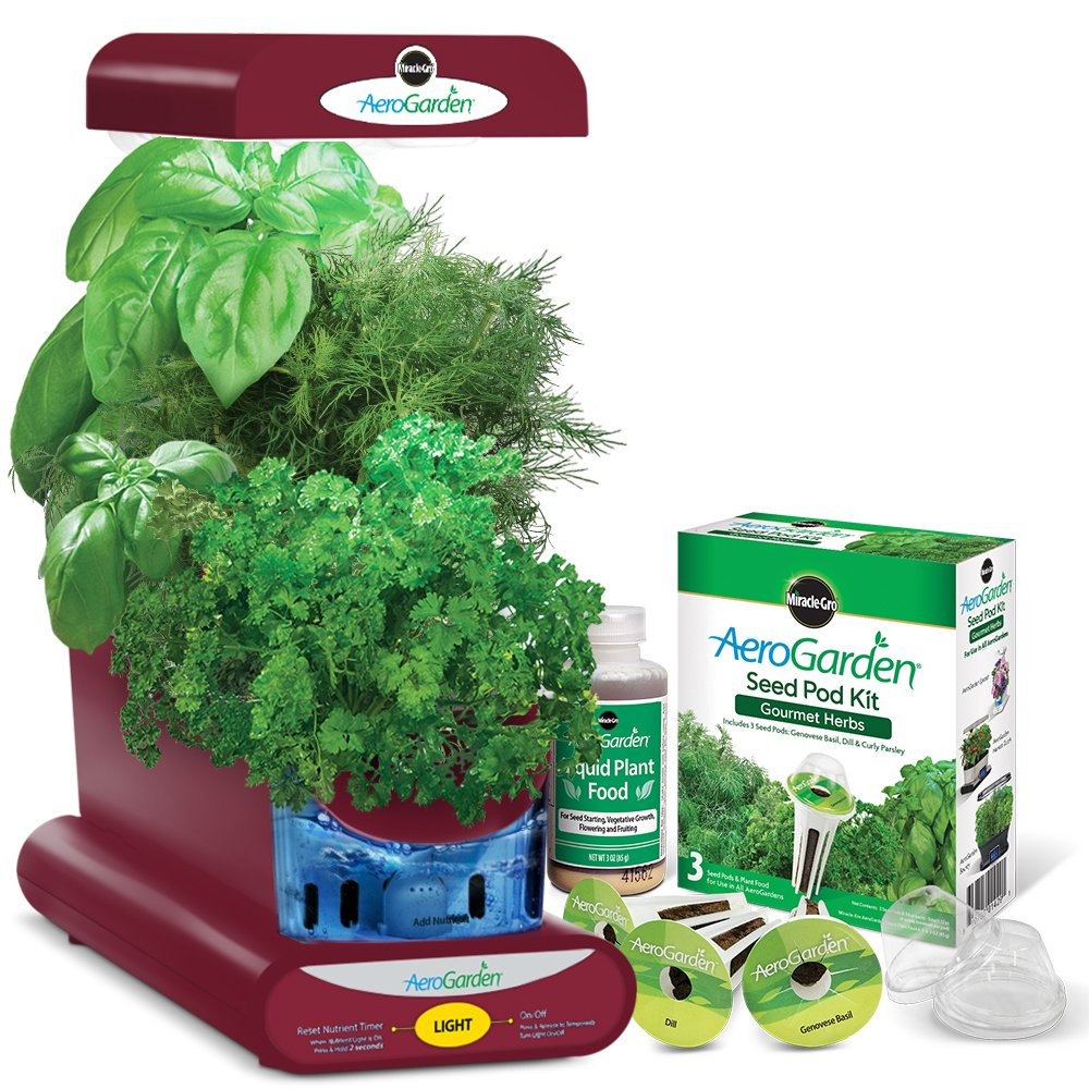 AeroGarden Sprout with Gourmet Herb Seed Pod Kit, Red by AeroGrow