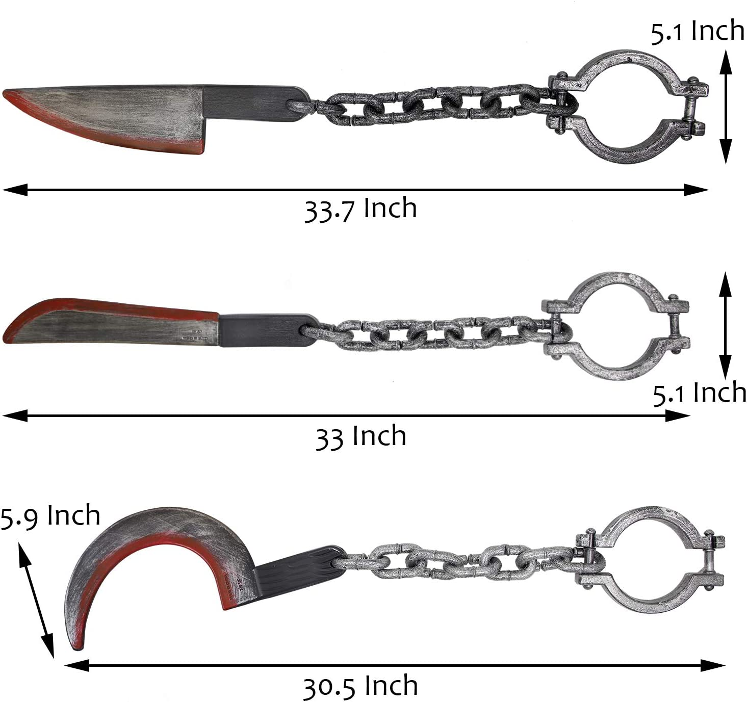 Set of 3 Halloween Chunky Costume Party Decoration Set Trick Props Haunted Houses Accessory Decorations Sickle and Manacles Axe Knife Cleaver yosager Halloween Plastic Bloody Weapons Machete