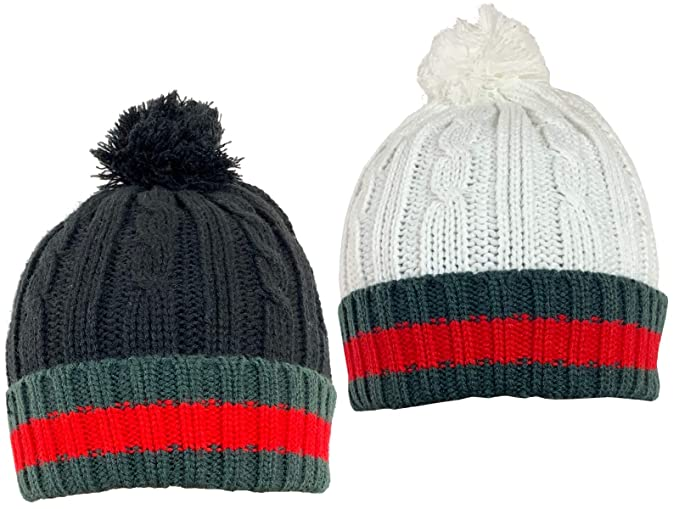 07956c8ed Men's Design Cable Knit Wooly Hat with Bobble (Pom Pom) in Black ...