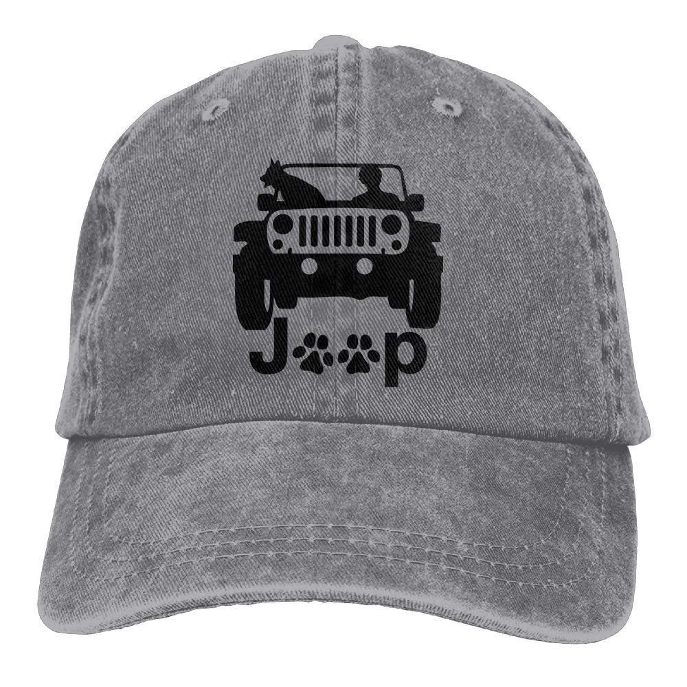 P.Scott My Dog and Jeep Denim Hat Adjustable Women's Casual Baseball Cap