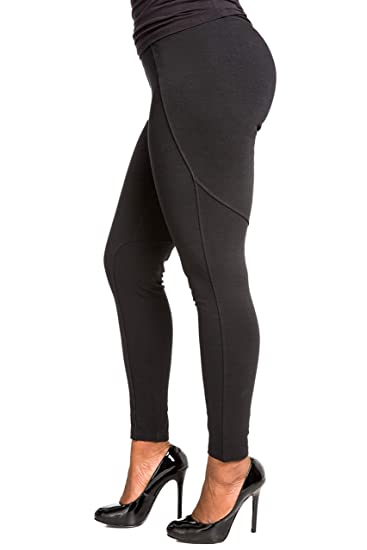 b5abf2e4c58 Poetic Justice Curvy Women s Stretch Ponte Pull On Stitching Moto Legging  Size Small Black