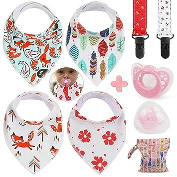 Idefair(TM) Baberos bandana bebé ,Juego de baberos para niñas y niños paquete de 4 baberos + 2 clips para chupete + 1 chupete + bolsa de regalo ...