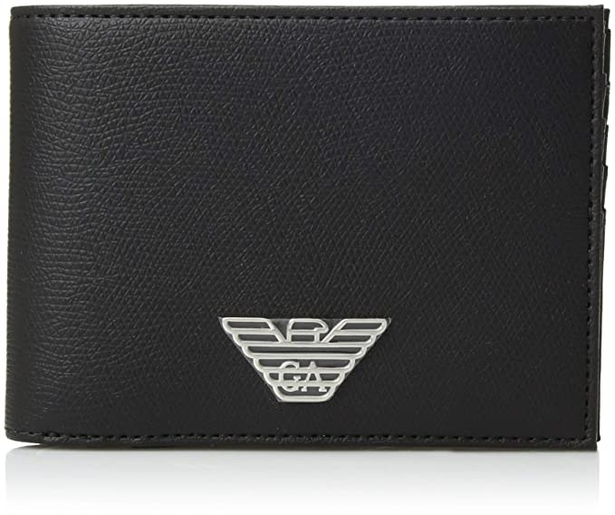 4a5e8da001 Emporio Armani men's genuine leather wallet credit card bifold black ...