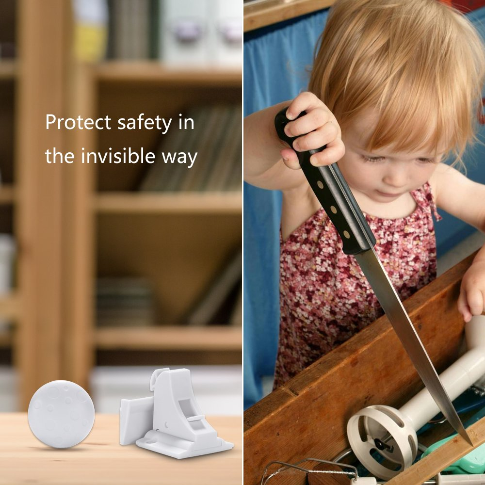 Magnetic Baby Safety Locks of Kikoocare for Cabinets & Drawers,8 Lock + 2 Key for Baby Proofing Cabinets by Kikoocare (Image #2)
