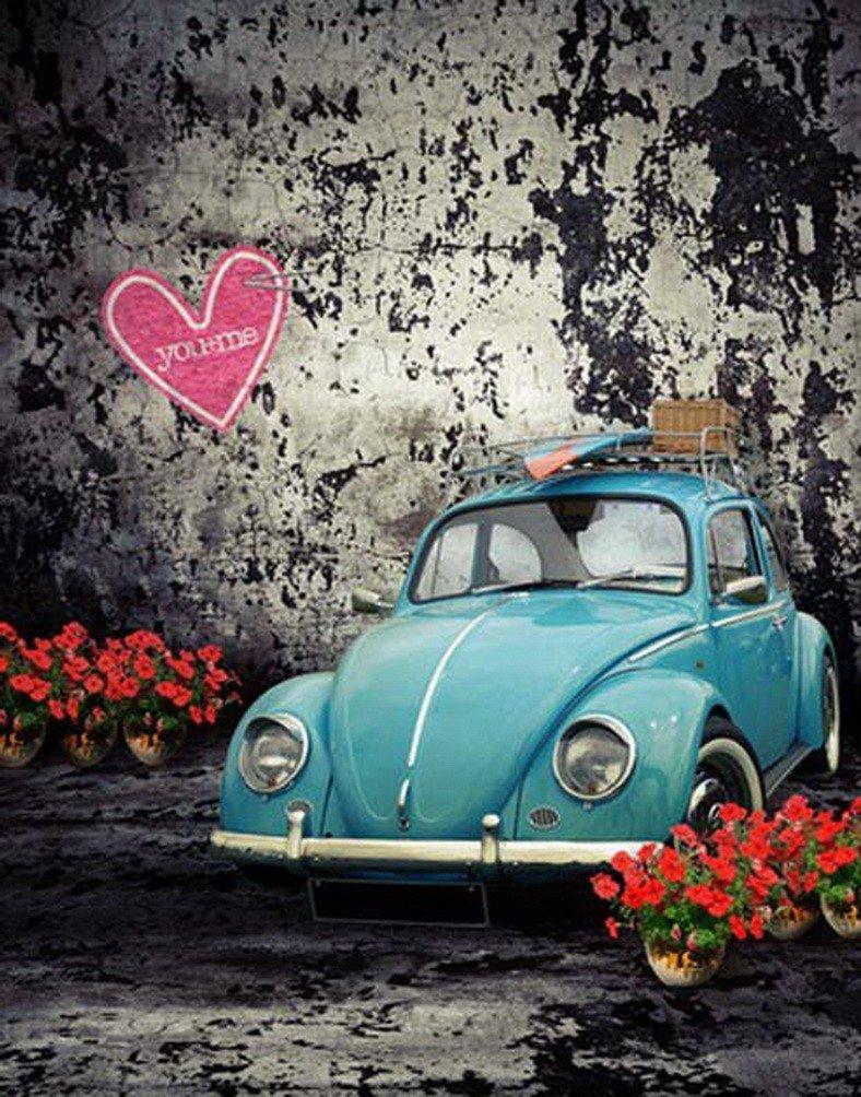 A Monamourグランジコンクリート壁ハートLoveローズフラワーブルー車Studio小道具写真背景   B01N09UD6B