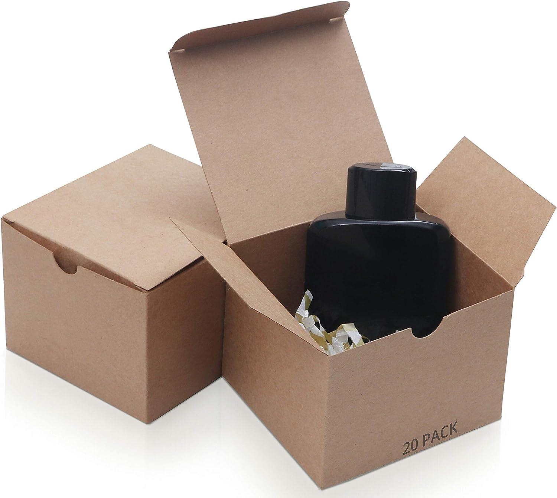 Belle Vous Cajas kraft Marrón (Pack de 20) - (12x12x9cm) Kraft Papel Cajas Regalo - Autoensamblables Caja Presentación - Caja de Regalo de Propuesta de Dama de Honor para Chocolates, Boda Fiestas