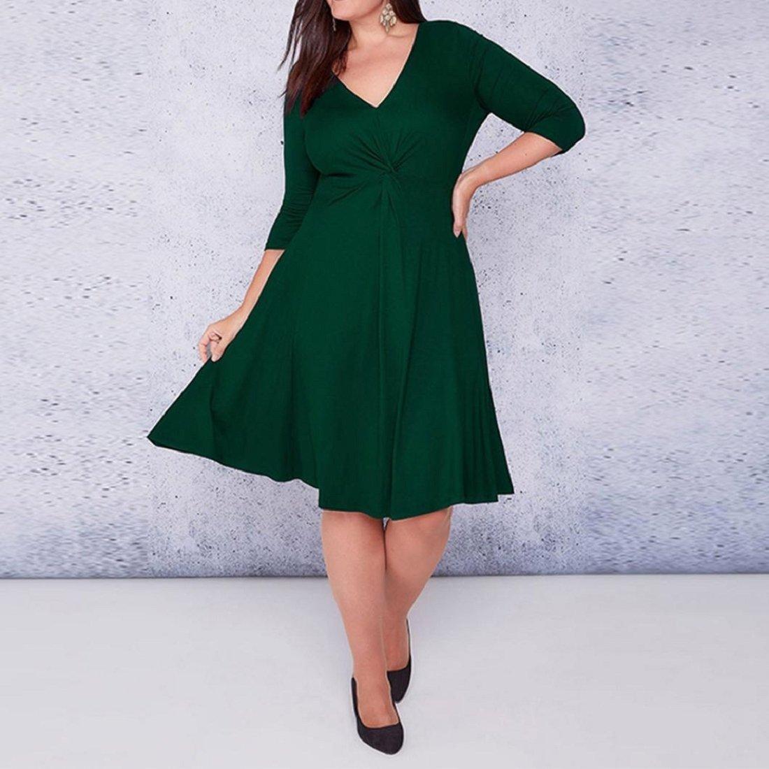 Amazon.com  GONKOMA Women s Plus Size Dress Casual Three Quarter Sleeve  V-Neck Plain Loose T-Shirt Party Dress XL-6XL  Clothing cec636c8c8c6