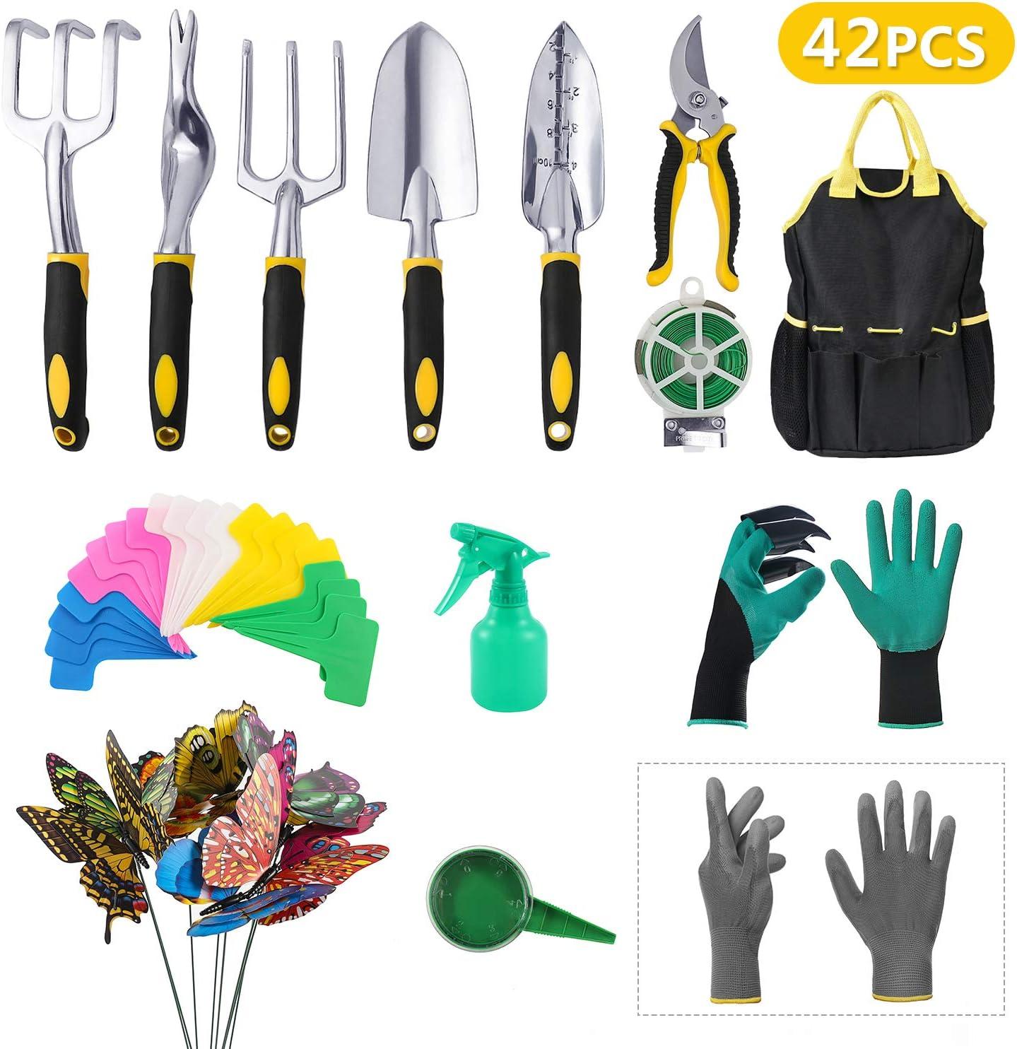 SaphiRose 42 PCS Garden Tools Set - Outdoor Tools Gardening Gifts Heavy Duty Aluminum Hand Garden kit with Garden Storage Bag