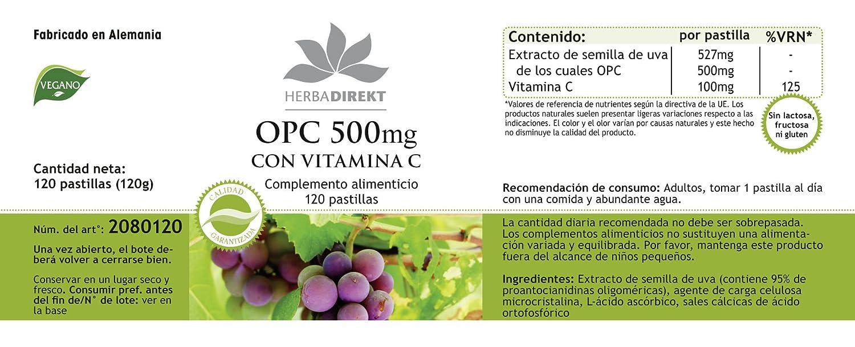 OPC 500mg + Vitamina C - Herbadirekt - 120 pastillas - artículo vegano: Amazon.es: Salud y cuidado personal
