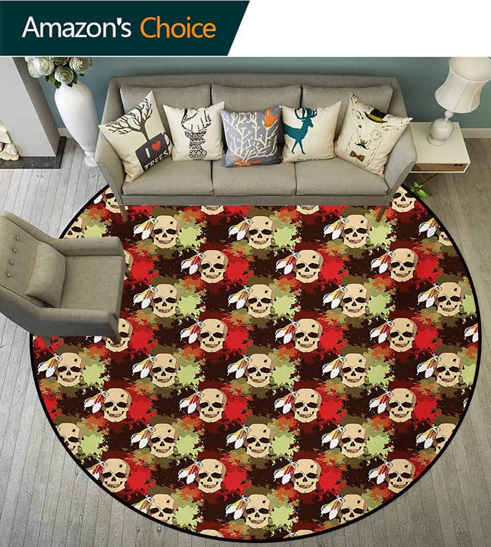 Skull Modern Machine Washable Round Bath Mat,Skull with Feathers Ethnic Tribe Backdrop with Colorful Blood Splash Non-Slip Living Room Soft Floor Mat,Diameter-59 Inch Pistachio Green Red Cream