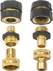 Set of 6 Aluminum Garden Hose Female Male Quick Connector - Water Hoses Quik Connect Release
