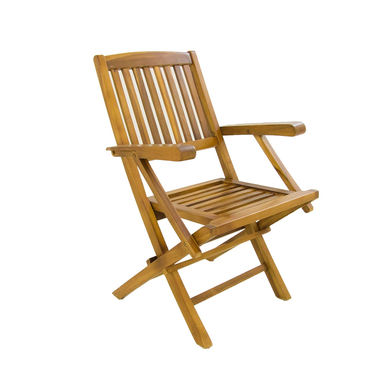 Edenjardi Pack 2 sillones de jardín Teca Plegables   Madera Teca Grado A   Tamaño: 54x57x88 cm  Tratamiento al Agua aplicado   Portes Gratis