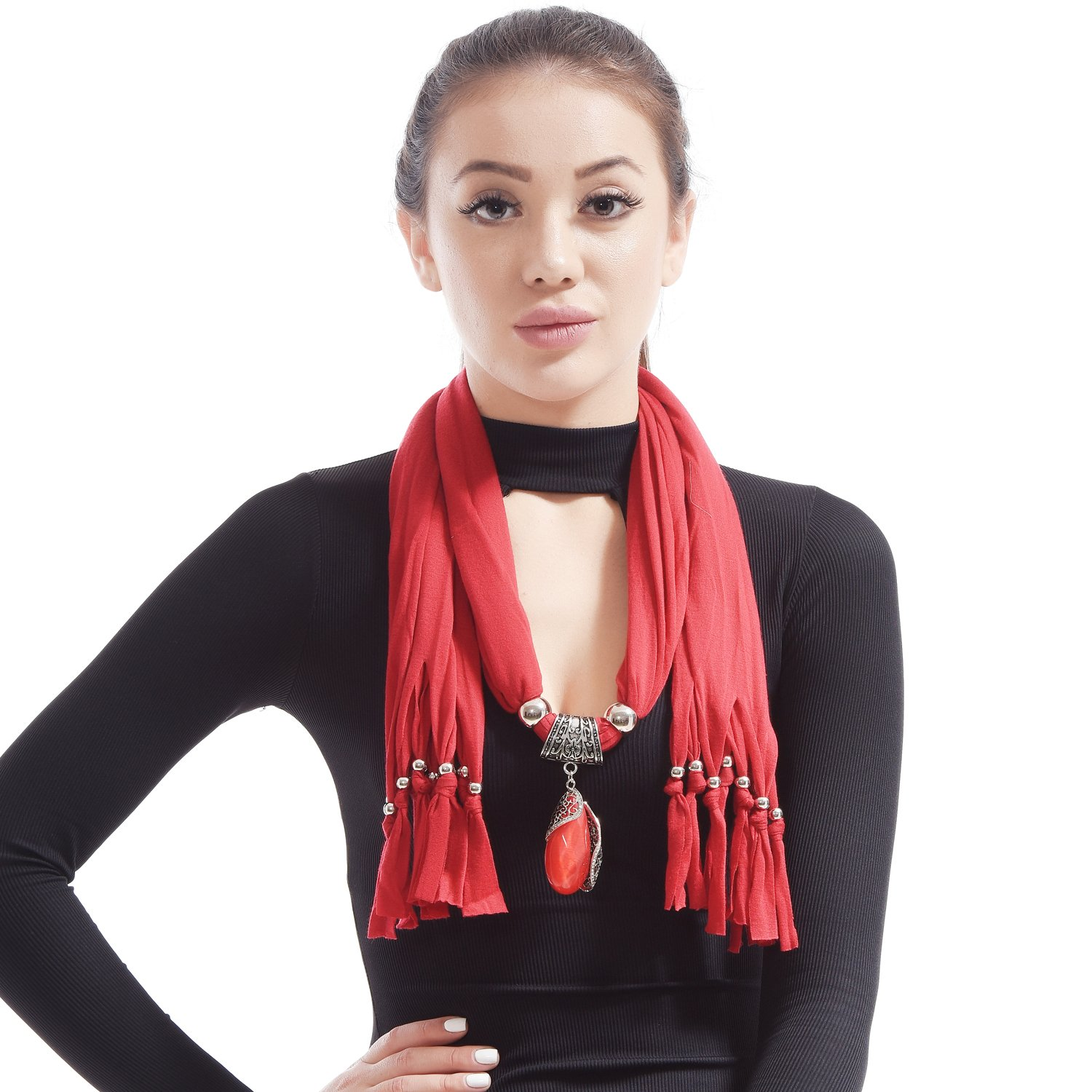 LERDU Gift Idea Indian Pear Shaped Stone Pendant Red Scarf Necklace Soft Jersey Infinity Scarf Tassel Jewelry for Women