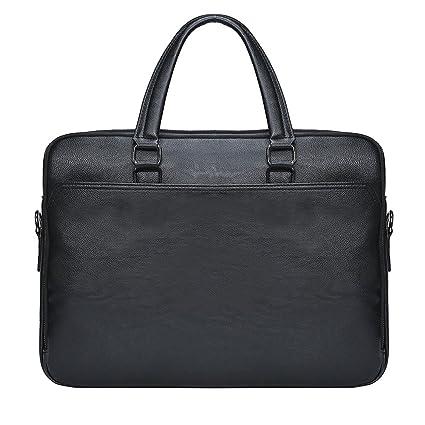 3039eca81b43 Men Briefcase for Men Vintage Bag 15.6 inch Laptop Leather Black Bag  Classic Briefcases Handbag Messenger Mens Business Bag for Men  SAJOSE(Black)  ...