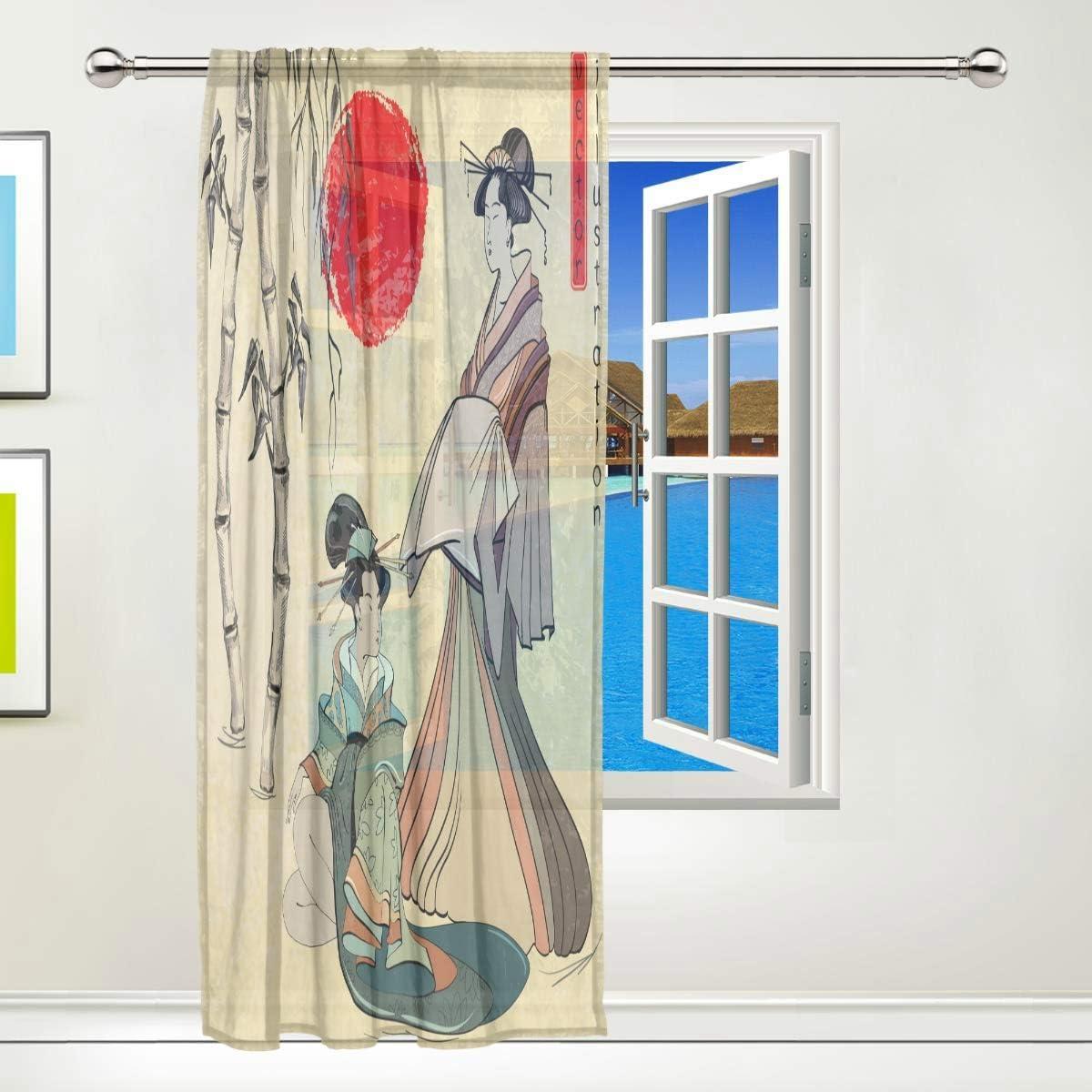 Beau Rideau Japonais Geisha Girl pour Cuisine 55x78x1 ISAOA Rideau Transparent en Tulle 132 x 183 cm Salon Multicolore Chambre /à Coucher in Panneau Simple Polyester